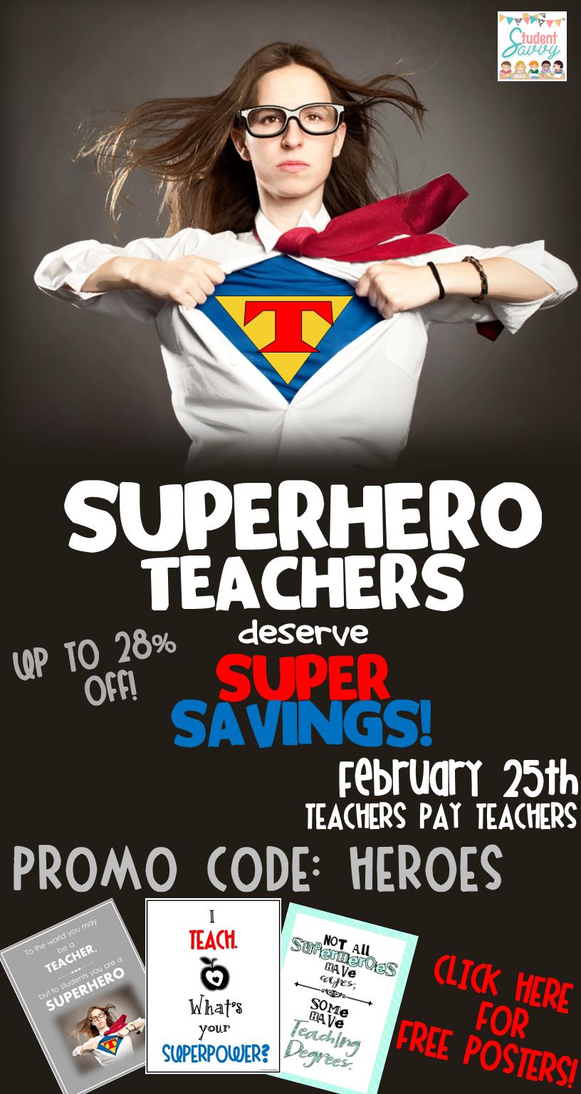 Teachers are Heroes Sale – TpT!