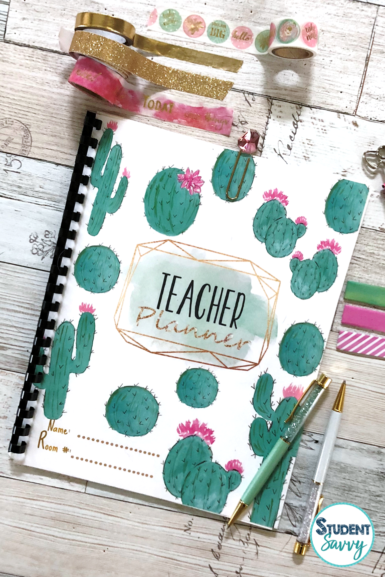 teacher planner cactus style cover