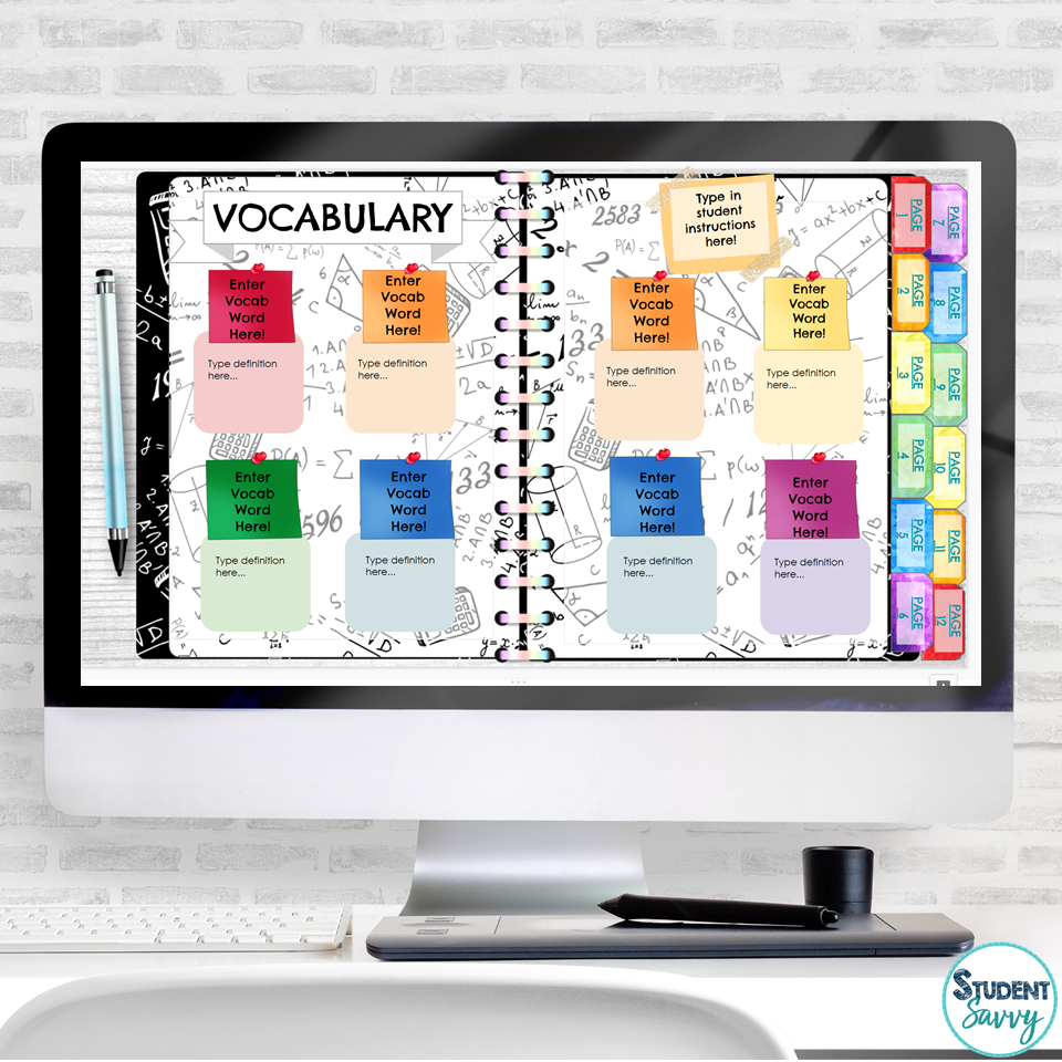 math vocabulary digital notebook