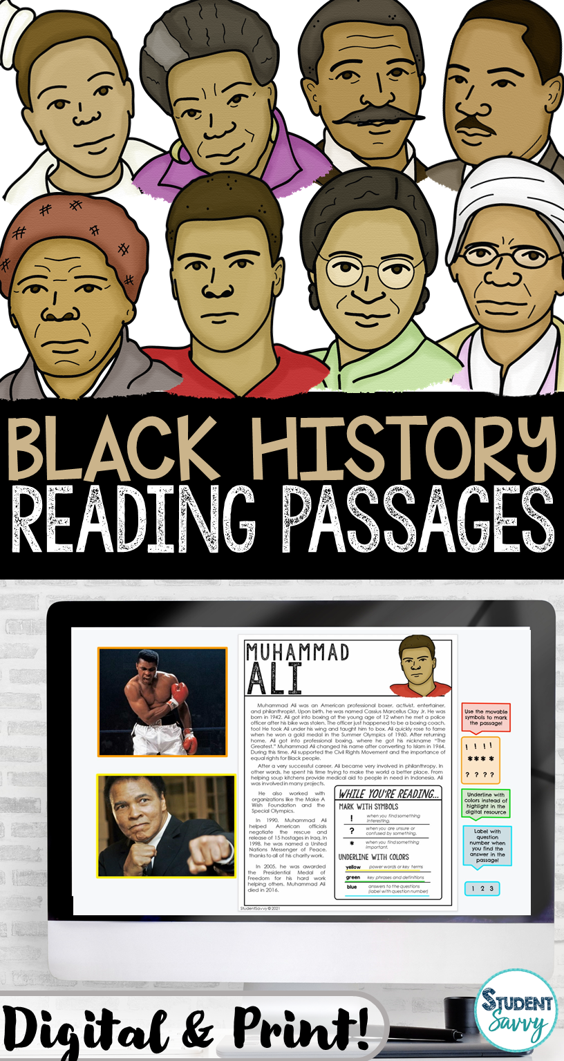 Black History Month Reading Passages for Upper Elementary Students