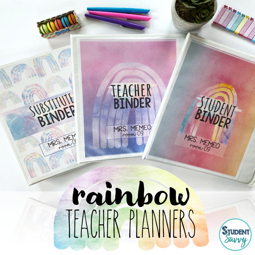 rainbow teacher planner cover ideas