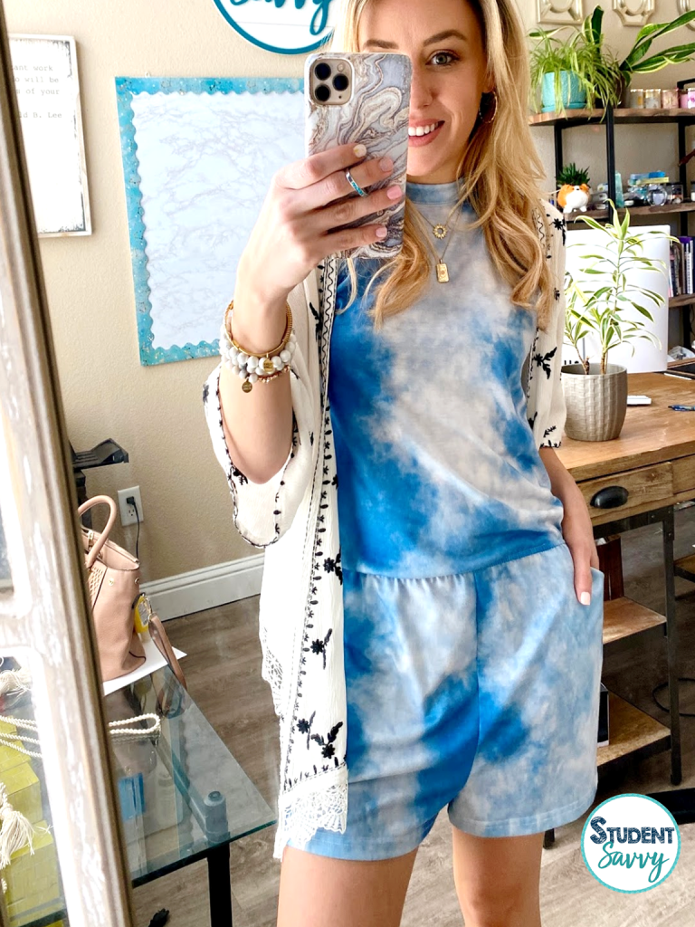 amazon summer outfit for teachers blue romper