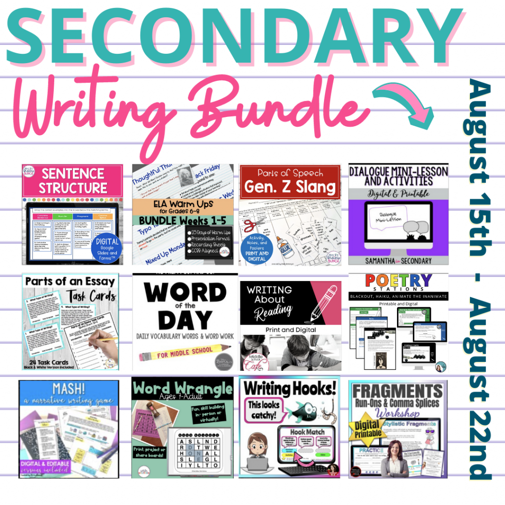 Writing Bundle Middle School