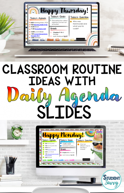 Morning Classroom Routine Ideas with Daily Agenda Slides